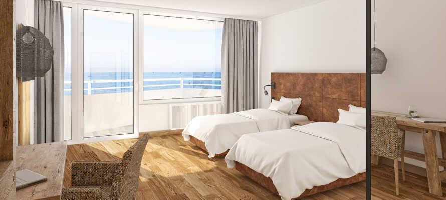 Die neu renovierten Zimmer befinden sich im Ostseehotel Midgard und alle neuen Zimmer verfügen über zwei Einzelbetten.