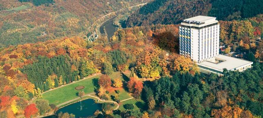 Rett bak hotellet ligger det en stor park, som er et helt ideelt område til lange gåturer og avslappende stunder.