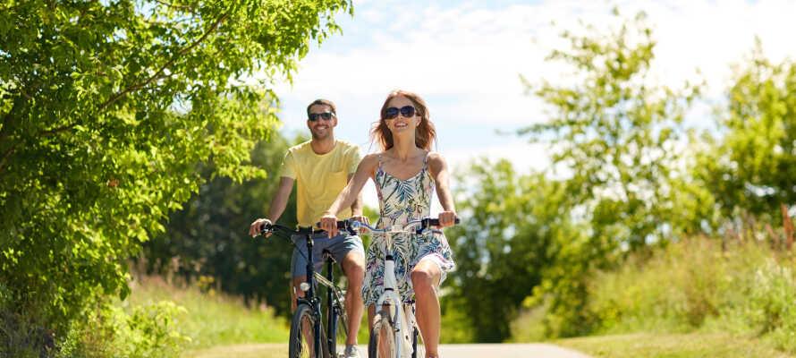 Nyd herlige vandre- eller cykelture i det knap 500 ha. store naturområde, som omkranser hotellet.