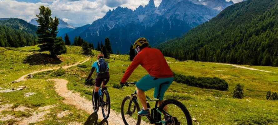 Området passar för cykling både med mountainbike eller cykling på vägarna.