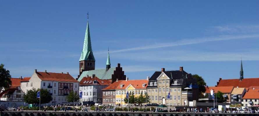 Ta färjan över till vackra Helsingör där ni kan njuta av god mat, pittoreska gränder och den vackra hamnen.