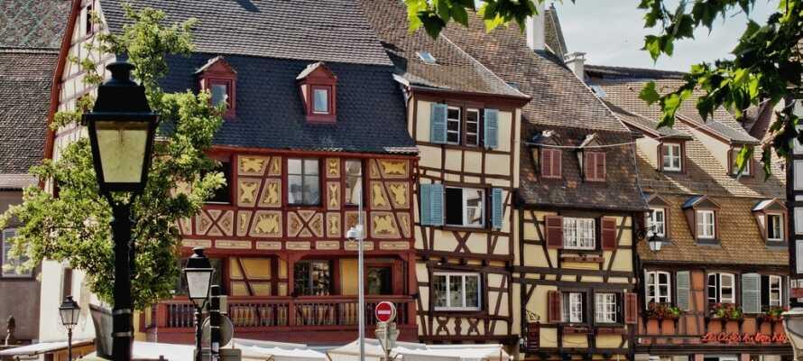 Besøk Alsaces vinhovedstad Colmar. Dere kan spasere i de vakre gatene med de mange utsmykkede husene fra middelalderen.