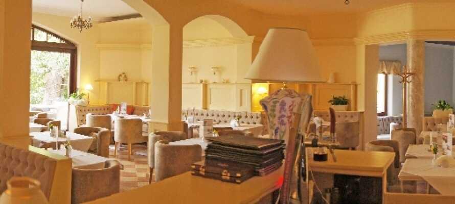 Nyt middagen i den lyse restauranten, hvor det serveres både polske og internasjonale retter.