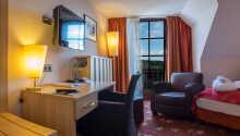 Exempel på ett av hotellets bekvämt inredda dubbelrum.