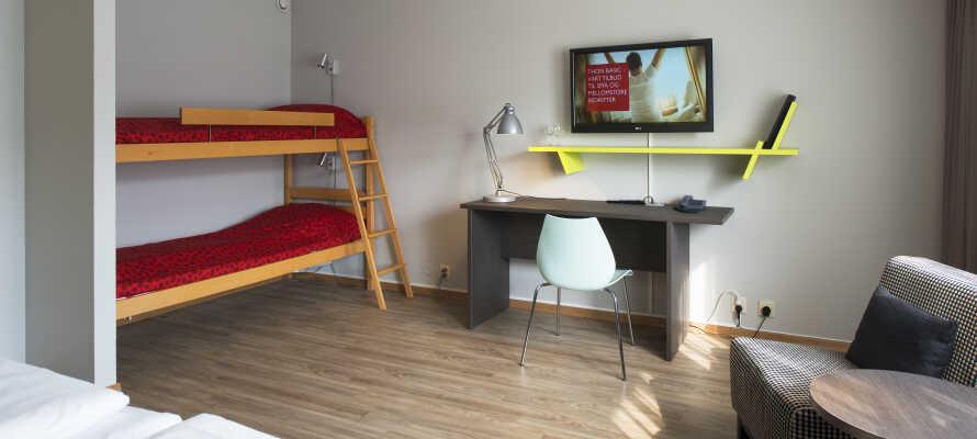 Det er store rom tilgjengelig for storfamilier. Hør mer om de mange mulighetene Thon Hotel Hallingdal tilbyr.