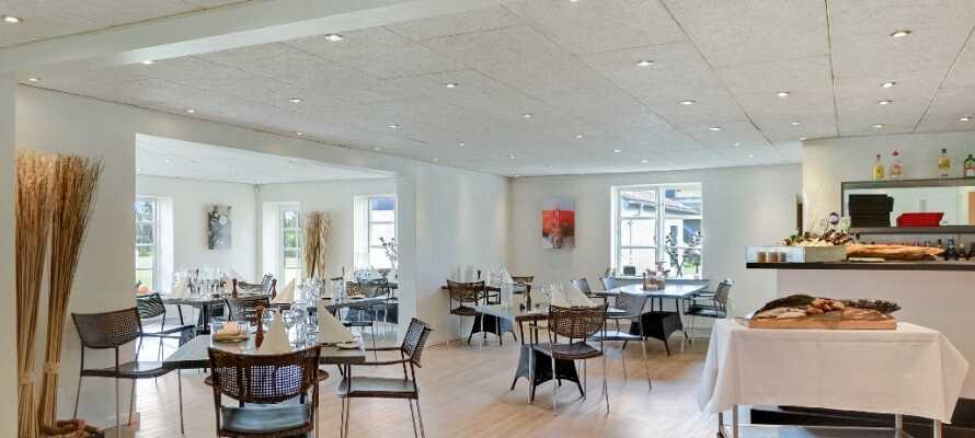Nyd middagen med et glas vin i hotellets restaurant, som er udsmykket med behagelige designmøbler og spændende kunst.