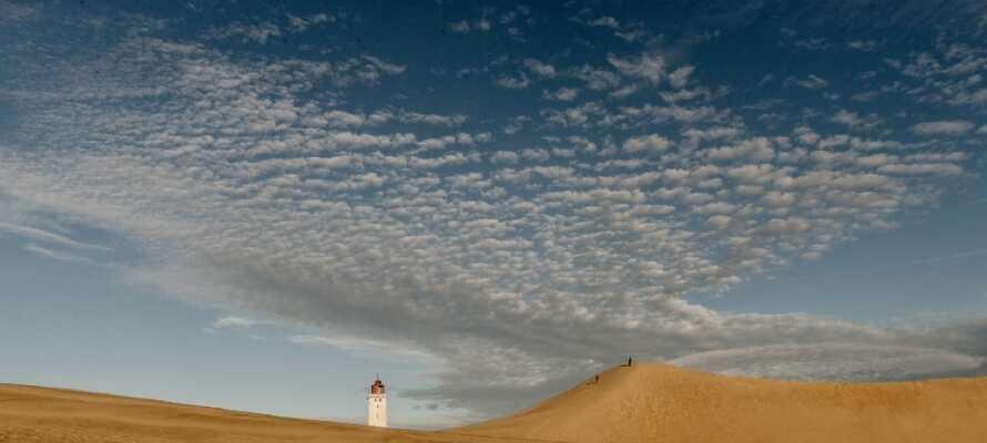 Tag på en udflugt til Rubjerg Knude, nyd solnedgangen og se det smukke fyr, som forventes at styrte i vandet inden 2020!