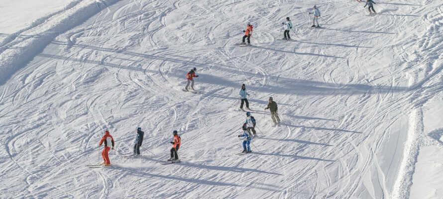 Det finns flera skidanläggningar i närheten av hotellet som bjuder på 139 km anlagda spår.