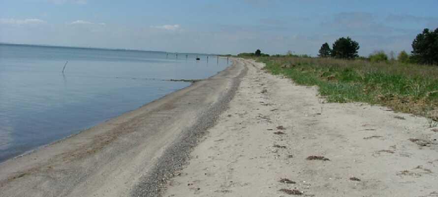 Der er ikke langt ned til stranden, hvor dere kan gå tur i sanden og ta en forfriskende dukkert i havet