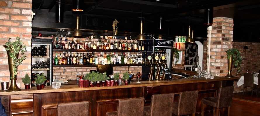 Nyd afslappende stunder og hyggelige samtaler, med en drink I hotellets stemningsfulde bar.