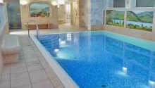Hotellet erbjuder en mindre wellnessavdelning där ni bland annat kan koppla av i inomhuspoolen.