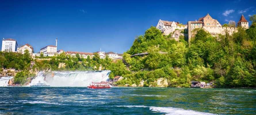 Besök Europas största vattenfall, Rhinefall, nära Schaffhausen i Schweiz. Här väntar er en imponerande syn!