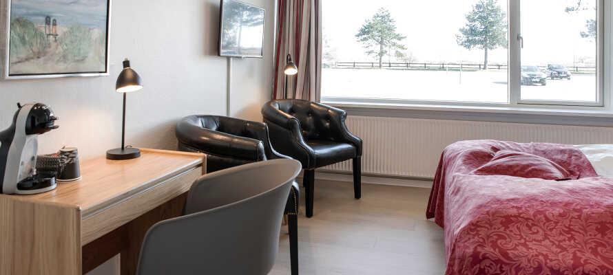 Hotellets «Comfort»-rom og «Business»-rom er utstyrt med en smart Dolce Gusto kaffemaskin, og morgenkaffen er dermed sikret.