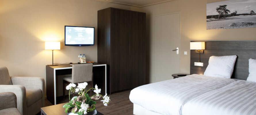 På dette hotel bor I på komfortable og moderne værelser, der alle har eget badeværelse.