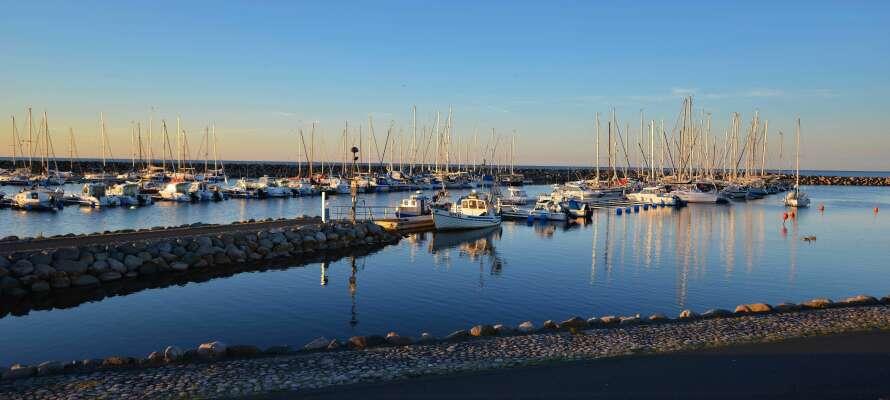 Simrishamns marina med både fritidsbåtar och mindre fiskebåtar. Den äldre fiskehamnen ligger alldeles intill.