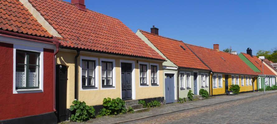 Se de små og yderst velbevarede huse i Simrishamns smukke gamle bydel.