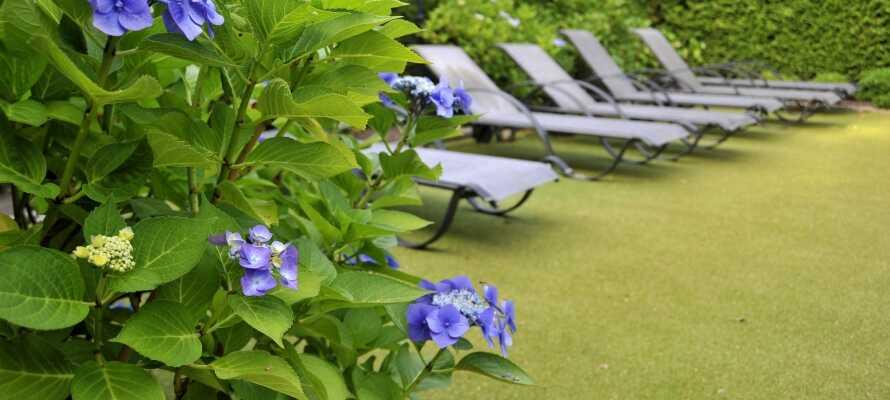 Im Sommer können Sie auf einem der Hotel-Liegstühle sonnenbaden und die Kinder in der schönen Umgebung spielen lassen.