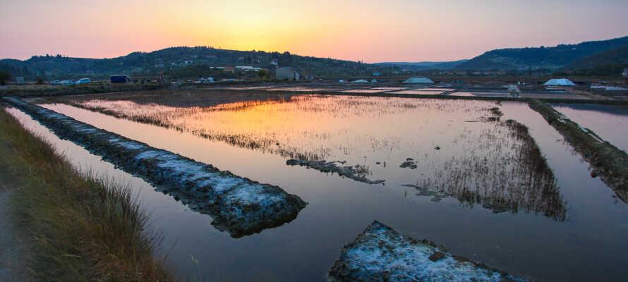 Ta vägarna förbi saltavlagringen vid Strunjan som producerar