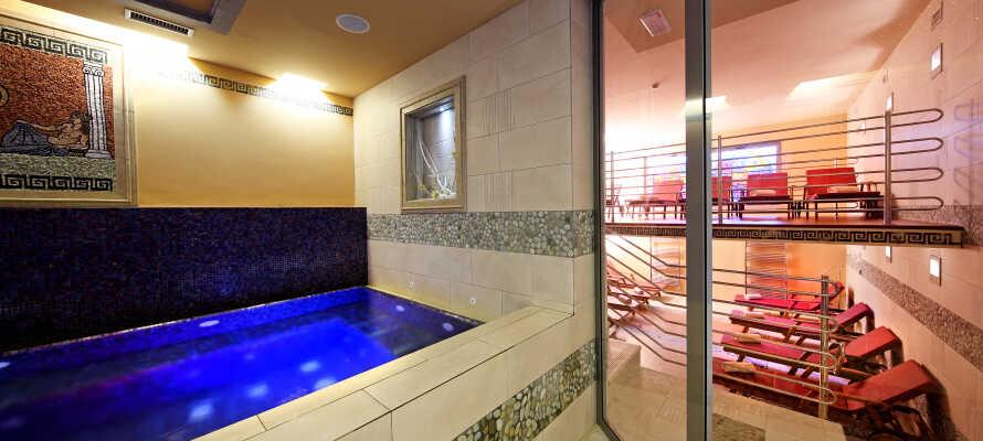 På Hotel Mirtas velvære-avdeling kan dere nyte for eksempel et romersk dampbad, finsk badstue, ishule eller noen av de mange behandlingene som tilbys mot et gebyr.