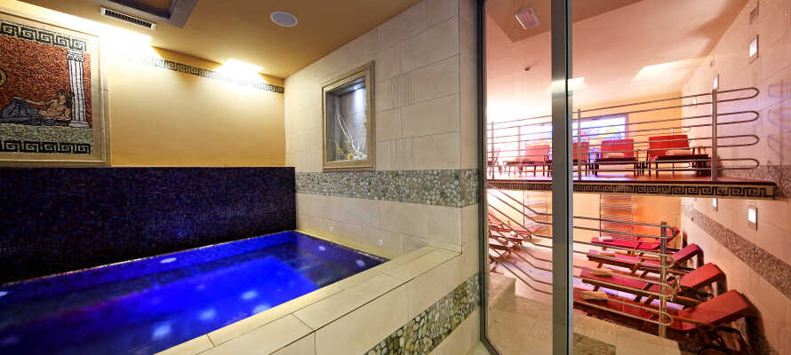 På Hotel Mirtas wellnessavdelning kan ni njuta av romerskt ångbad, finsk bastu och en isgrotta.