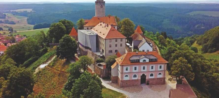 """De hyggelige værelser har alle udsigt over de grønne landskaber eller mod jagtslottet """"Fröhliche Wiederkunft""""."""