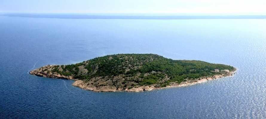 """Besøg den smukke ubeboede ø """"Den Blå Jomfru"""" i Kalmars skærgård, der rejser sig mere end 80 meter over vandoverfladen."""