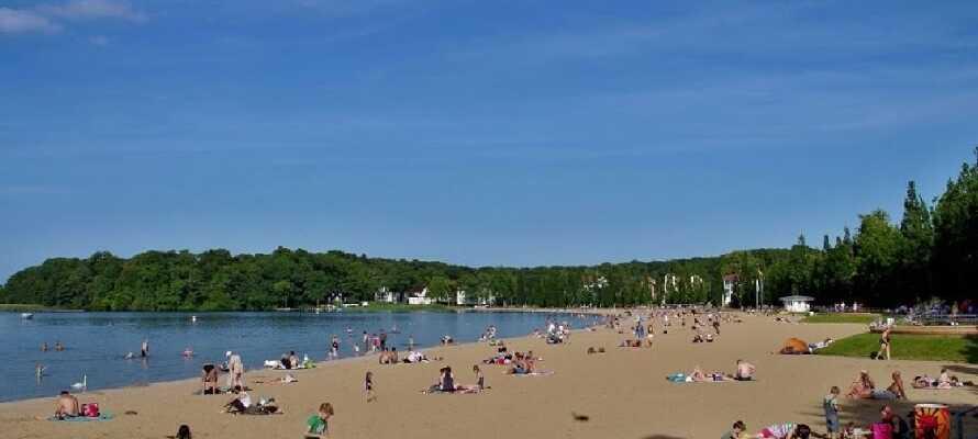 Nyd en dag på stranden. Om sommeren kan I bade, om vinteren nyde udsigten udover fjorden