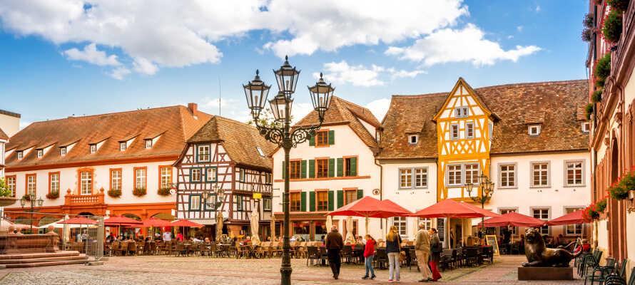 Ni hittar gamla stan och marknadsplatsen i Neustadt runt hörnet från hotellet