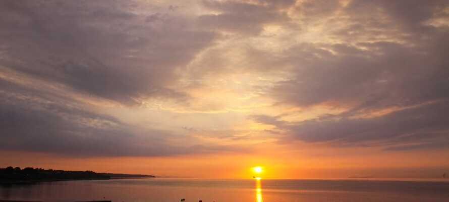Gå en herlig aftentur ved vandet og nyd den smukke solnedgang.