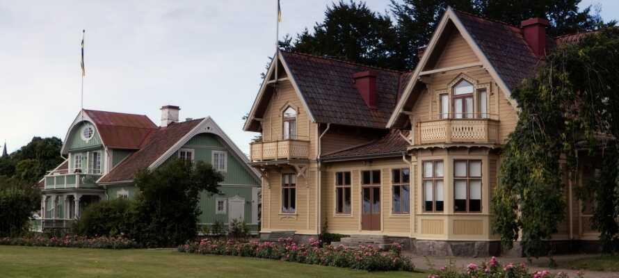 Hjo har vunnit flera internationella utmärkelser för välbevarade av sin ursprungliga träbebyggelsen med pittoreska trähus och vackra träbroar.