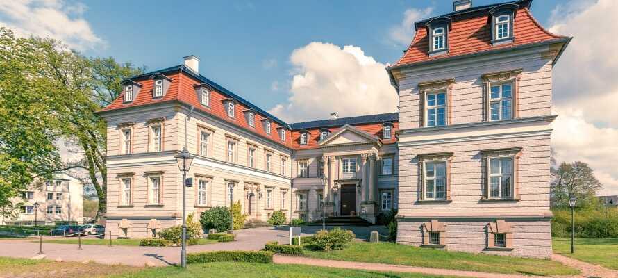 Hotellet är byggt i barockstil och man känner av slottets 400 år långa historia.