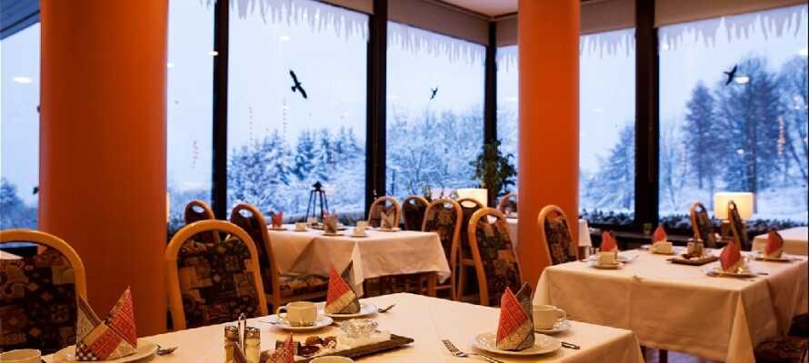 I hotellets restaurant vil i får serveret jeres middage.