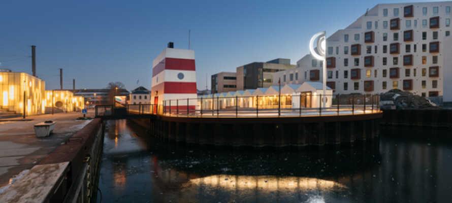 Odense havnebassin er åbent om sommeren og en frisk dukkert er vel aldrig af vejen, når solen stråler.