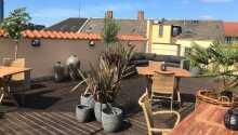 Trinken Sie eine Tasse Kaffee auf der Dachterrasse und genießen Sie die Aussicht auf Odense.