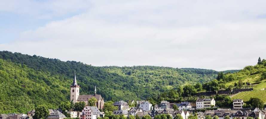 Dette historiske hotellet har en suveren beliggenhet midt i den gamle bydelen i vinbyen Rüdesheim.