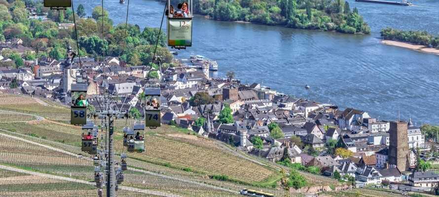 Et af de helt store højdepunkter for ethvert ophold i Rüdesheim, er den unikke svævebanetur op til Niederwald-Denkmal.