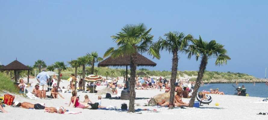 Den paradisaktige 500 meter lange Palmestranden ligger bare ca.  3 km. fra hotellet og gir sydlandske fornemmelser.