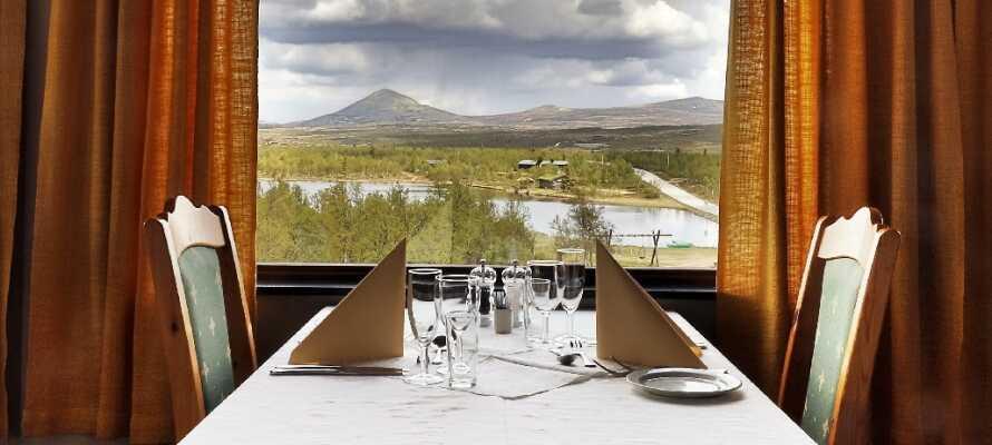 Njut av en middag med vacker utsikt över den norska naturen.