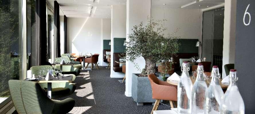 Avnjut en kopp kaffe eller något kallt att dricka i hotellets eleganta lounge.