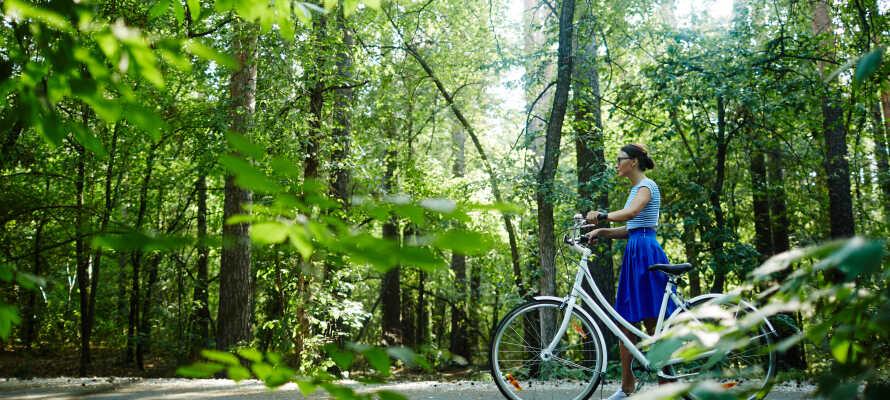 I kan gratis låne cykler og elcykler på hotellet, og således let komme ud på opdagelse i nærområdet.