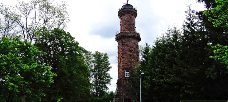 Upplev utsikten från det 30 meter höga Friedrichsturm som ligger 1 km upp på toppen av berget Badener Höhe.