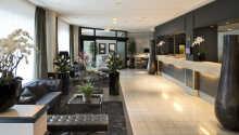 Rezeption und Lobby des modernen Hotels laden zum Verweilen ein.