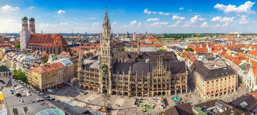 Utforska charmiga München och upplev stadspulsen kring stadens torg och gator.