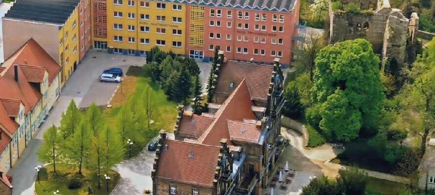 Das Hotel Himmelsscheibe ist von grünen Weinhängen umgeben. Außerdem gibt es eine Schlossruine und das Schwesterhotel Schlosshotel Nebra