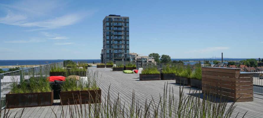 Koppla av på hotellets stora takterrass med utsikt över Öresund och Öresundsbron och