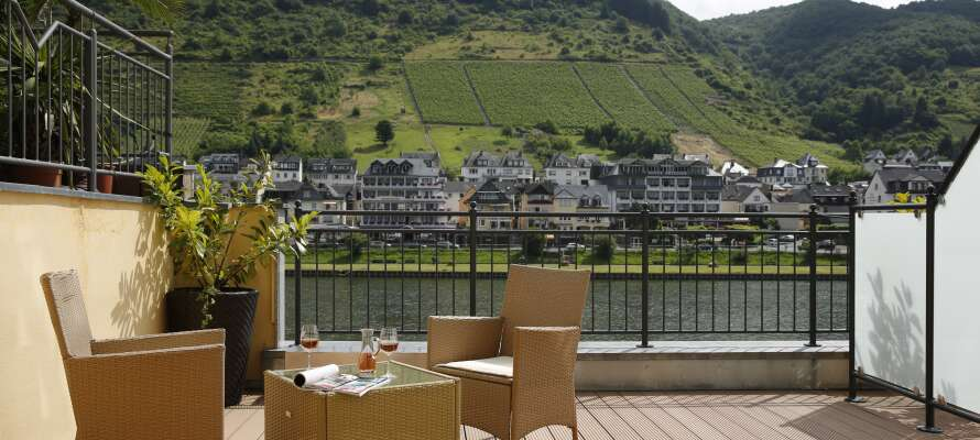 Vom Hotel haben Sie einen schönen Blick auf den Fluss, die Promenade und die umliegenden Weinberge.