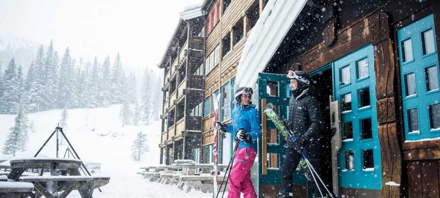 Kvitfjell alpinanlegg ligger rett utenfor hotelldøra.