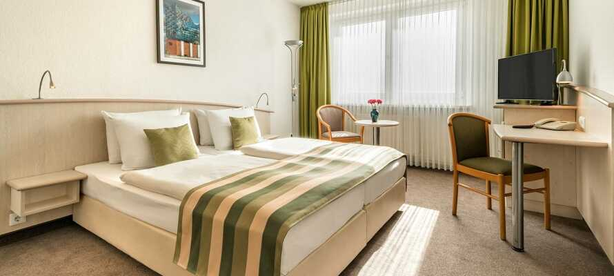 Hotellrummen fungerar som en bekväm bas under er viselse.