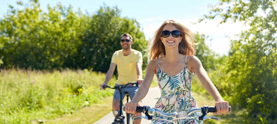 Lej cykler på hotellet og drag ud i de fantastiske naturomgivelser.