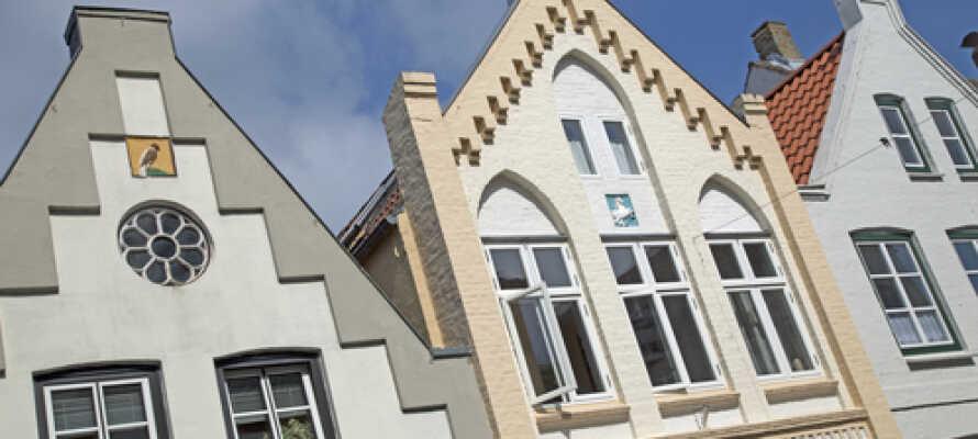 Arkitektoniske fasader i Friedrichstadt i delstaten Schleswig-Holstein.